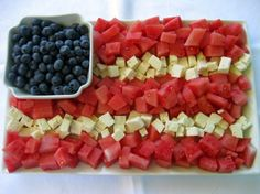 Fruit and Cheese Flag platter. Uses blueberries and watermelon but could use strawberries or cherries