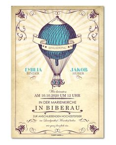 Einladungskarte Hochzeit Vintage-Heißluftballon (P-1035)