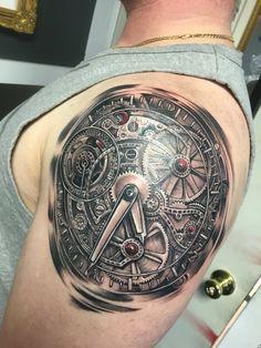 Skeleton watch tattoo