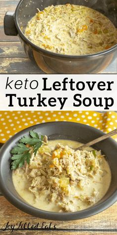 Leftover Turkey Soup - Low Carb, Gluten-Free, Grain-Free, THM S - this creamy leftover turkey soup with bacon is hearty, Best Turkey Soup, Creamy Turkey Soup, Homemade Turkey Soup, Leftover Turkey Soup, Healthy Leftover Turkey Recipes, Keto Foods, Sin Gluten, Gluten Free, Soup Recipes