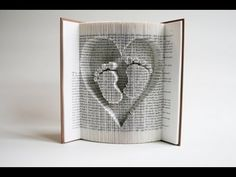 Book Folding Tutorial: Inverted Heart and Baby Feet.number pattern only. Old Book Crafts, Book Page Crafts, Book Page Art, Book Pages, Paper Crafts, Book 1, Book Folding Tutorial, Book Folding Patterns Free Templates, Recycler Diy