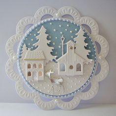 Beautiful Pearlescent Winter Scene Die Cut Card Topper Christmas | eBay