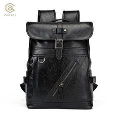 536f577a61 PU Leather Men Business Male Casual Boys School Black Vintage Shoulder bags  for Men Soft Men Backpack