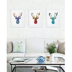 Antler Stag Blue Deer Print Set of 3  Minimalist Art  by ElfShoppe, $90.00