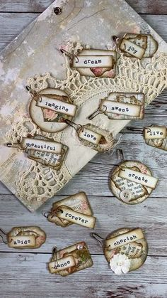 Junk Journal Word Tags Embellishments from My Porch Prints Get the printable ki. - Junk Journal Word Tags Embellishments from My Porch Prints Get the printable kit to make these swe - Tag Art, Junk Journal, Journal Cards, Handmade Tags, Handmade Journals, Handmade Books, Scrapbook Embellishments, Shabby Chic Embellishments, Book Crafts