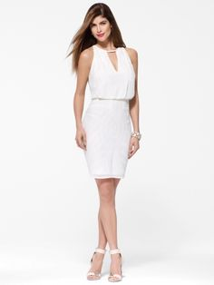 Show Off Your Shoulders In Our Feminine White Chiffon Beaded Number Dresses Halter