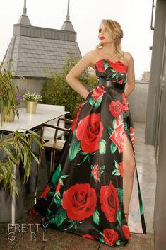 ROCHIE LUNGĂ DIN TAFTA CU IMPRIMEU FLORAL ROȘU Tafta Dress, Strapless Dress Formal, Formal Dresses, Pretty Girls, Corset, Girl Fashion, Events, Spring, Floral