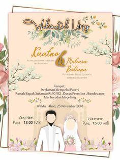 Muslim Wedding Invitations, Creative Wedding Invitations, Digital Invitations, Wedding Invitation Cards, Bridal Shower Invitations, Wedding Couple Cartoon, Muslim Wedding Cards, Wedding Caricature, Muslimah Wedding