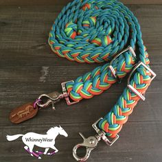Turquoise, Lime and Orange Braided Barrel Reins by WhinneyWear. Custom order at www.whinneywear.com