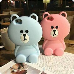 Warm Cute Soft Silicon Pink&Blue Cartoon Brown Bear case for iPhone in Cell Phones & Accessories, Cell Phone Accessories, Cases, Covers & Skins Kawaii Phone Case, Girly Phone Cases, Iphone 7 Plus Cases, Coque Iphone 6, Iphone 5s, Aesthetic Phone Case, Ipod, Silicone Phone Case, Cute Cases