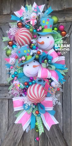 Snowman Wreath Whimsical Christmas Snowman Christmas Decor Candy Christmas C Halloween Mesh Wreaths, Christmas Mesh Wreaths, Christmas Swags, Pink Christmas, Christmas Snowman, Christmas Ornaments, Door Wreaths, Christmas Door Hangings, Whimsical Christmas