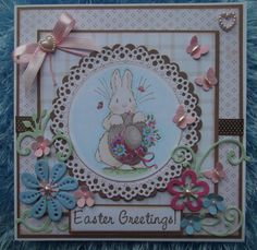 image from Penny Black clear stamp set Garden Friends, papers by Nitwits and die cut decoration by Marianne Design