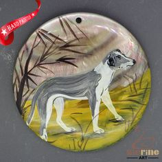 HAND PAINTED DOG NATURAL MOTHER OF PEARL SHELL NECKLACE PENDANT ZZ50 00188 #ZL #PENDANT