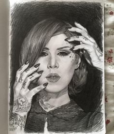 """Kat Von D. 8 3/4"""" x 12 1/2"""" sketchbook. Ebony graphite pencil. 2016. By: Marissa Asal (The_Lovely_Drawing on Instagram)"""