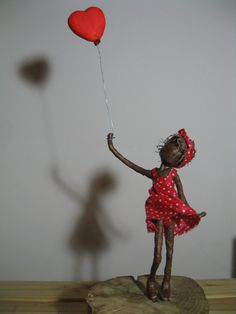 Girl with Red Heart Shaped Balloon by Stephaniessculptures on Etsy, £28.00