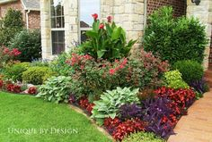 Add some good front yard plants with color, height, and texture that pleases the eye. There are several choices of front yard plants. Outdoor Landscaping, Front Yard Landscaping, Outdoor Gardens, Ranch House Landscaping, Canna Lily Landscaping, Corner Landscaping Ideas, Houston Landscaping, Mulch Ideas, Landscaping Blocks