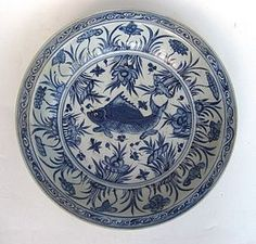 An Early Ming B&W Dish With Fish Motive