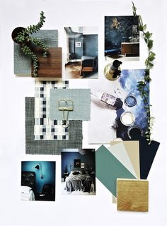 Moodboard example includes: colour, texture, object perception images, swatches & natural material related to piece