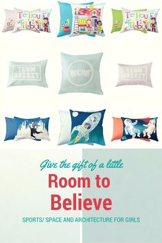 Kids rooms with a twist! Sports for girls and dance for boys. View our inspiring collection at  http://www.roomtobelieve.com/