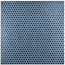 "Penny 0.8"" x 0.8"" Porcelain Mosaic Tile in Denim Blue"