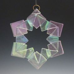 BAUBLES Iridized Fused Glass Snowflake Ornament Suncatcher - Do in translucent greens with wreath embellishments...