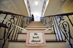 no boys allowed sign, wedding day, getting ready, day of getting ready, wedding