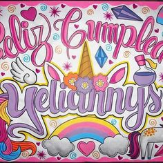 feliz cumple, unicornio Salvia Divinorum, Ideas Para Fiestas, Prismacolor, Unicorn Birthday, Anniversary Gifts, Best Friends, Messages, Lettering, Creative