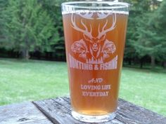 Personalized Father's Day Fishing & Hunting Pint Glass, Groomsman Gift