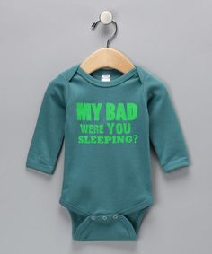 Take a look at this Boo Rad Lee Designs Turquoise 'My Bad' Bodysuit - Infant on zulily today!