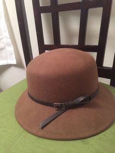 2aec6c92d23e9 Details about Nine West Pecan Wool Bucket Trench Hat Faux Leather Band MSRP   46 Preppy Chic