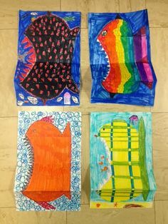 """The Colorful Art Palette: Folded paper """"cute/scary fish"""" Scary Fish, Beach Themed Art, Art Sub Plans, Fish Activities, Drawn Fish, 2nd Grade Art, Fish Drawings, Art Lessons Elementary, Elements Of Art"""