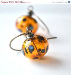 Leopard Spot Hollow Glass Earrings by bstrung on Etsy