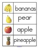 Fruit theme word wall.