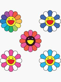 """""""Takashi Murakami Happy Flower 5 Pack"""" Sticker by edvinp Small Canvas Art, Cute Canvas, Purple Aesthetic, Aesthetic Art, Takashi Murakami Art, Murakami Flower, Trippy Painting, Hippie Painting, Cartoon Flowers"""