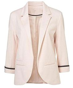 Face N Face Womens Cotton Rolled Up Sleeve NoBuckle Blazer Jacket Suits XLarge Pink *** Learn more by visiting the image link.