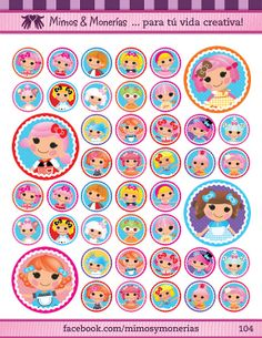 """Lalaloopsy Bottle Cap Images 1"""" - Digital Collage Sheet 8.5x11"""" - Hair Bow Centers, Magnets, Stickers and Crafts - INSTANT DOWNLOAD"""