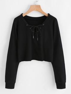 Eyelet Lace Up Sweatshirt - Sweat Shirt - Ideas of Sweat Shirt - Eyelet Lace Up Sweatshirt Trend Fashion, Teen Fashion Outfits, Outfits For Teens, Stylish Outfits, Girl Outfits, Stylish Clothes, Crop Top Hoodie, Cropped Hoodie Outfit, Sweat Shirt