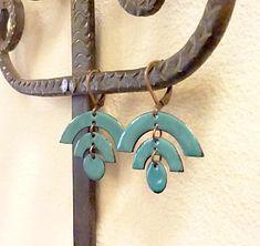 Copper Glass Enamel Tribal Earrings, Art Deco, Mid Century Modern, Arches Semi Circle, Native American Indian, Arcata Earrings