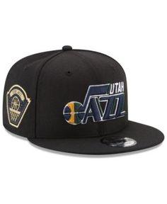 New Era Utah Jazz All Metallic Hoops 9FIFTY Snapback Cap - Black Adjustable