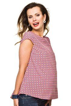Vzorovaná růžová těhotenská halenka s krátkým rukávem Tops, Women, Fashion, Moda, Fashion Styles, Fashion Illustrations, Woman