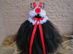 Tutu Dress, WHITE and RED on BLACK, Fuzzy Bodice, Longer Skirt   ElsaSieron - Clothing on ArtFire