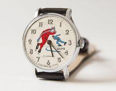 Vintage unisex wristwatch vintage - speed skating sport watch - dark brown leather watch. $50.00, via Etsy.