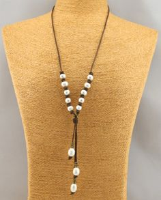 T-S156 Freshwater Pearl Leather NecklaceWhite di tongtongpearls