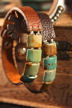 Turquoise and leather bracelet - Leather Jewelry Leather Cuffs, Leather Jewelry, Leather Cord, Beaded Jewelry, Jewelry Bracelets, Handmade Jewelry, Leather Bracelets, Brown Leather, Jewlery
