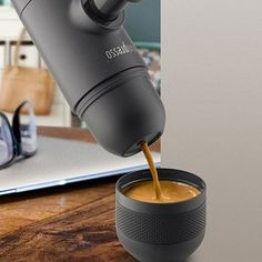 Minipresso is a portable espresso maker that allows you to get a jolt of caffeine ANYWHERE! | 39 Futuristic Kitchen Gadgets You Had No Idea You Needed