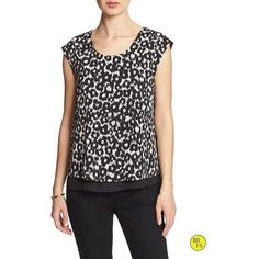Banana Republic Womens Factory Cap Sleeve Blouse Size XXS Petite -... ($50) ❤ liked on Polyvore featuring tops, blouses, petite blouses, banana republic, black and white blouse, black and white tops and banana republic tops