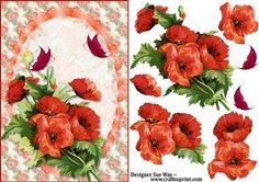 Red Poppies Card Front and Decoupage on Craftsuprint designed by Sue Way - A pretty card front filled with beautiful red poppies