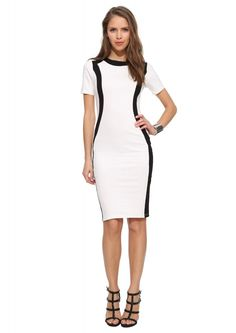 Color Block Bodycon Dress in Black/white   Necessary Clothing