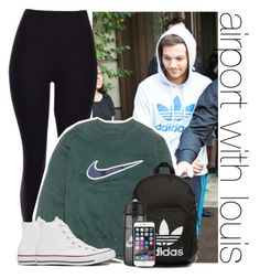 """""""airport with louis"""" by awk0cass ❤ liked on Polyvore featuring NIKE, Converse and adidas Originals"""