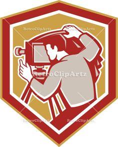 camera, crest, film camera, isolated, lens, male, man, photographer, retro, shield, video, vintage, woodcut